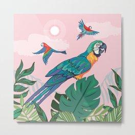 Treetop Parrots Metal Print