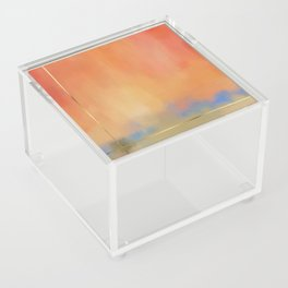 Abstract Landscape With Golden Lines Painting Acrylic Box