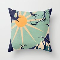 Throw Pillows featuring Fox roaming around II by Yetiland