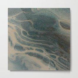 White Rivers, Acrylic Pour Metal Print