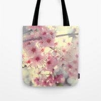 cherry blossom Tote Bags featuring cherry blossom by Bunny Noir