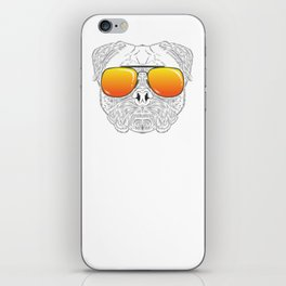 Pug Dog Hairy Face with Sunset Sunglasses Hand Drawn iPhone Skin