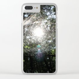 Sun in the forest across the web. Clear iPhone Case