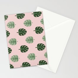 Tropical leaves Monstera deliciosa green and pink #monstera #tropical #leaves #floral #homedecor Stationery Cards
