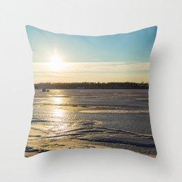 Sunset Over Freezing Lake 3 Throw Pillow
