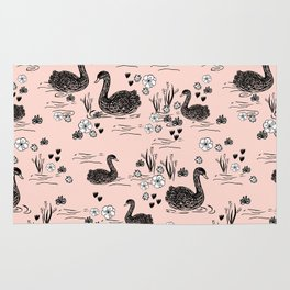 Swans painting cute girly trend cell phone case with swans pattern florals hand painted blush Rug
