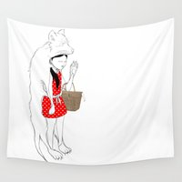 red riding hood Wall Tapestries featuring LITTLE RED RIDING HOOD by auntikatar