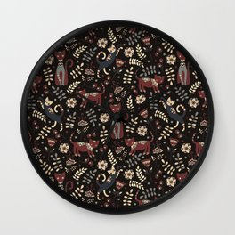 Cute cats. Brown pattern Wall Clock