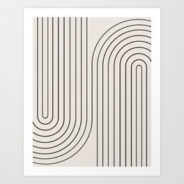 Minimal Line Curvature - Black and White I Art Print
