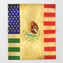 MEXICAN AMERICAN FLAG - 017 Throw Blanket