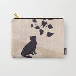Hanging out with you forever - Cat, Plant and Moon Carry-All Pouch