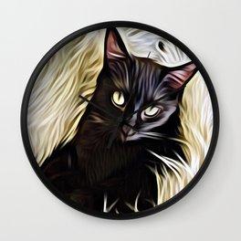 Black Cat Cuddle Wall Clock