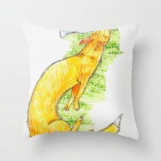 Fox Chasing Rabbit Throw Pillow