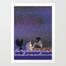 The sailor and the mermaid Art Print
