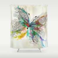 butterfly Shower Curtains featuring Butterfly by Klara Acel