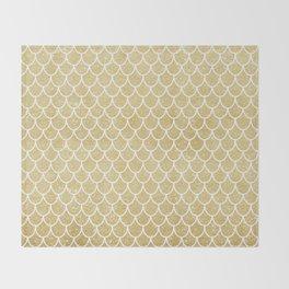 Mermaid Tail Pattern     Gold Glitter Throw Blanket
