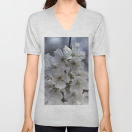 white flowers on the branches in spring Unisex V-Neck