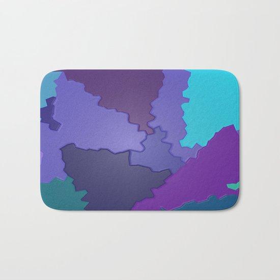 Blues and Purples Puzzle Patchwork Bath Mat