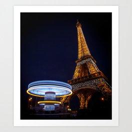 Eiffel Carousel Art Print