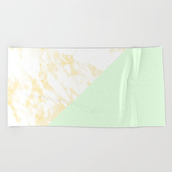 White Marble Pastel Orange and Light Green Geometric Beach Towel