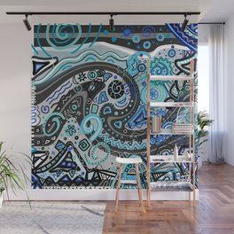 Blue Doodle Black Grey Drawing Line Art Wall Mural