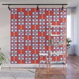 Geometric hanging flowers on red Wall Mural