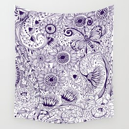 Floral doodles Wall Tapestry