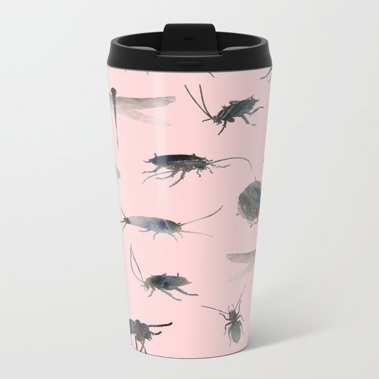 Insects on Pink Metal Travel Mug