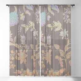 Chateau Brown Chinoiserie Decorative Floral Motif Chintz Sheer Curtain