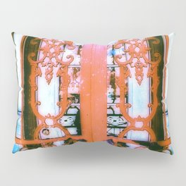 Ornate Iron Gate Red Pillow Sham