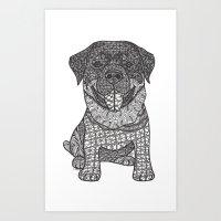 rottweiler Art Prints featuring Courageous- Rottweiler by DiAnne Ferrer