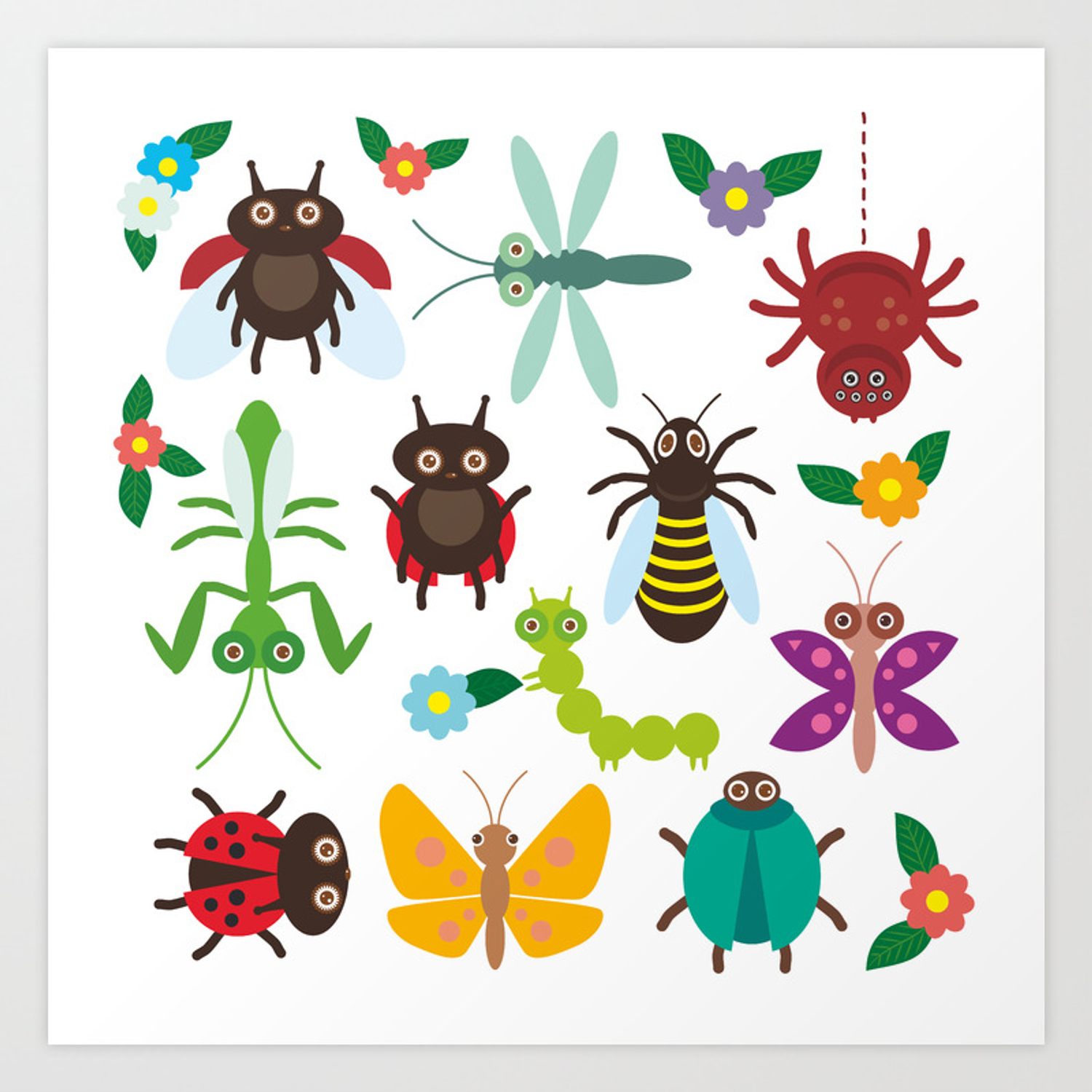 Funny Insects Spider Butterfly Caterpillar Dragonfly Mantis Beetle