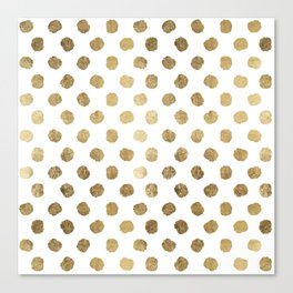 Luxurious faux gold leaf polka dots brushstrokes Canvas Print