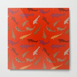 Koi carp. Brown orange yellow black outline on red background Metal Print