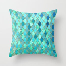 Aqua Teal Mint and Gold Oriental Moroccan Tile pattern Throw Pillow