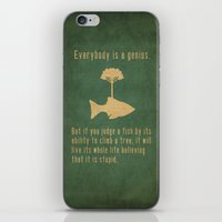 fish iPhone & iPod Skins featuring Einstein by Tracie Andrews