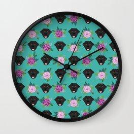 Black lab florals labrador retriever dog breed pet friendly pattern flowers bouquet Wall Clock