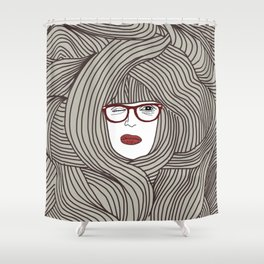 Long Hair Woman Shower Curtain
