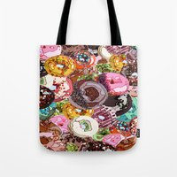 donuts Tote Bags featuring Donuts by Tina Mooney