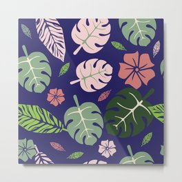 Tropical leaves Purple paradise #homedecor #apparel #tropical Metal Print