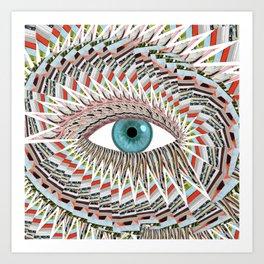 Origami Chakra Eye - Aqua Marine Blue Art Print