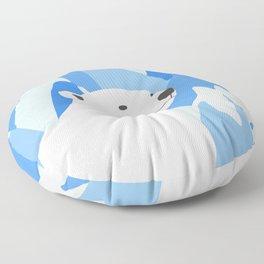 Polar Bear In The Cold Design Floor Pillow