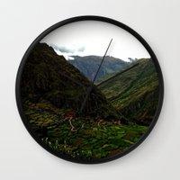 peru Wall Clocks featuring Rural Peru by miranda stein