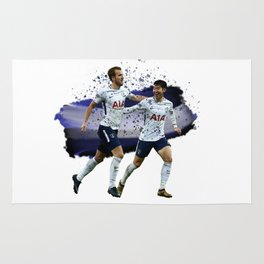 Watercolor Harry Kane and Son Heung Min Rug