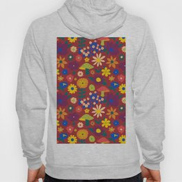 60's Country Mushroom Floral in Rust Hoody
