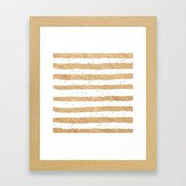 Elegant white faux gold glitter geometrical stripes Framed Art Print