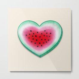 Summer Love - Watermelon Heart Metal Print
