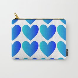 Love Hearts Classic Blue Ombre Carry-All Pouch