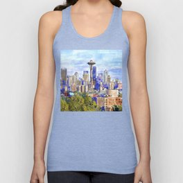 Seattle View in watercolor Unisex Tank Top