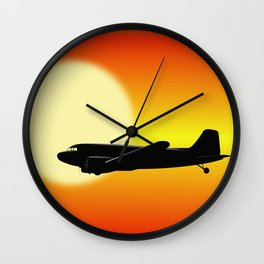 DC-3 passing sun Wall Clock